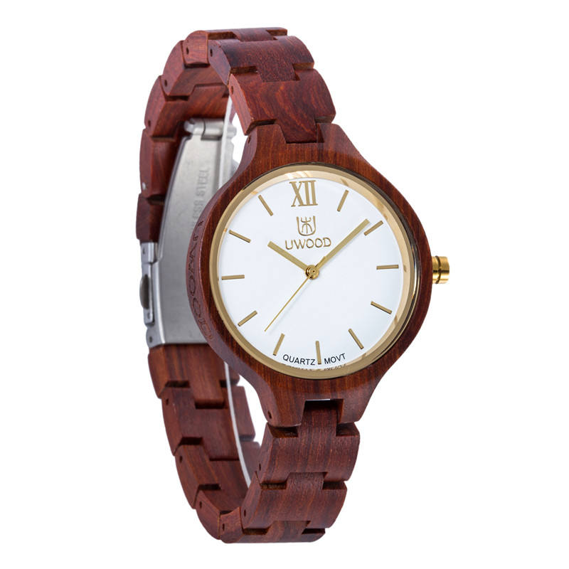 Fashion Quartz Couple Red Sandal Wooden Watch Women Men With Japanese Movement Luxury Lady Watch Wood With Bamboo Wood Watch Box