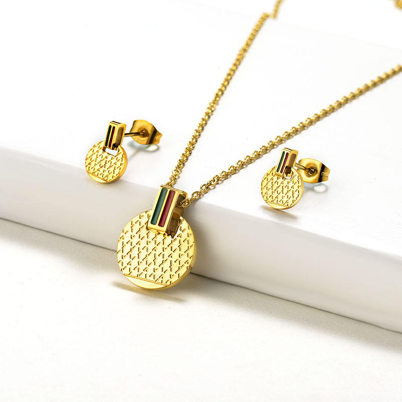 BAOYAN Famous Brand Jewelry Gold Plated Round Stainless Steel Jewelry Sets