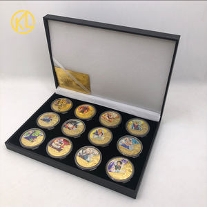 12pcs/Set Dragon Ball Z Gold Plated Metal Coins With Nice Gift Box Collectibles Japan Challenge Coin