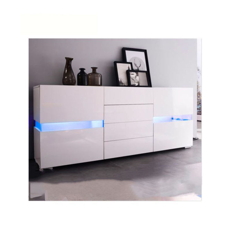 2020 high gloss led storage wooden cheap modern buffet luxury side cabinet with light