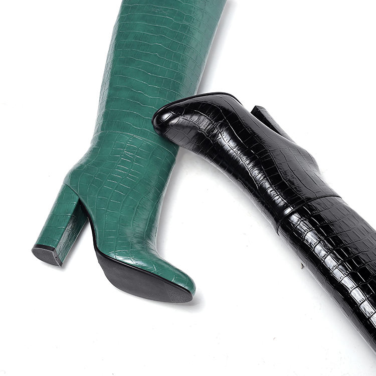 2020 Chinese Factory Black Green Women Winter Shoes Women High Heel Long Boots Shoes with Hand-stitched Ornament