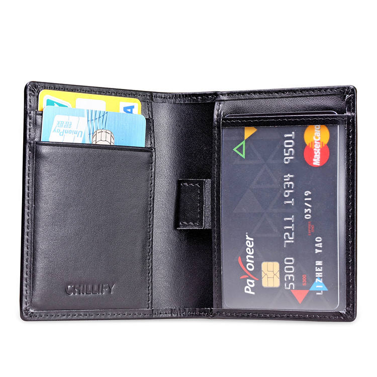 Custom Smooth Carbon Fiber Leather Smart Bifold RFID Mens ID Credit Card Holder Wallet With Pull Tap