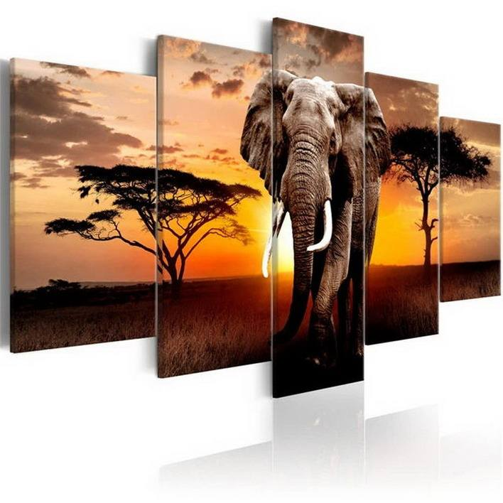 Wall Artwork Set 5 Panel Custom Oil Painting Modern Chinese Abstract Paint Animal Decoration Picture Living Room Canvas Art