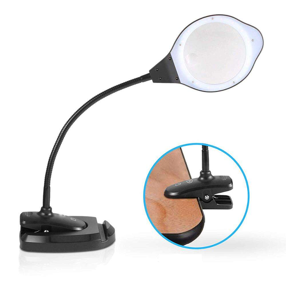 DH-88006 High Quality Custom Table Magnifying Glass Lamp, Large Plastic Lens Reading Magnifier With Led Light