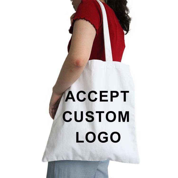 Custom Logo Design Recycled Cotton Canvas Grocery Tote Shopping Bag