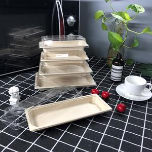 A06 Promotion 15%off sugarcane bagasse meat food sushi tray compostable dry press rect square sugar cane paper pulp lid