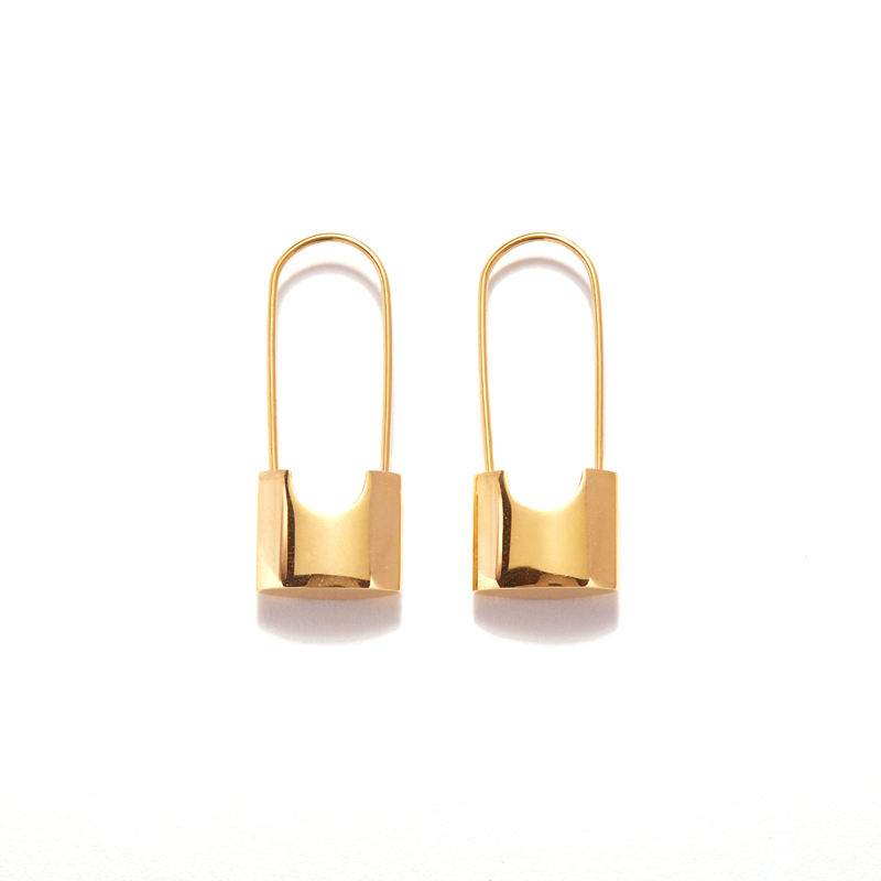 Unique Design Gold Lock Hoop Earrings for Women Small Safety Pin Earrings Hoops Long Bar Minimal Jewelry 2019 Trendy