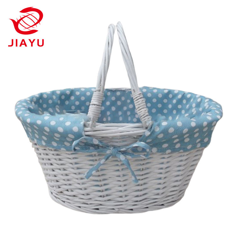 10% OFF White Lined Wicker Basket with handles Blue Gingham toy storage or shopping and gardening