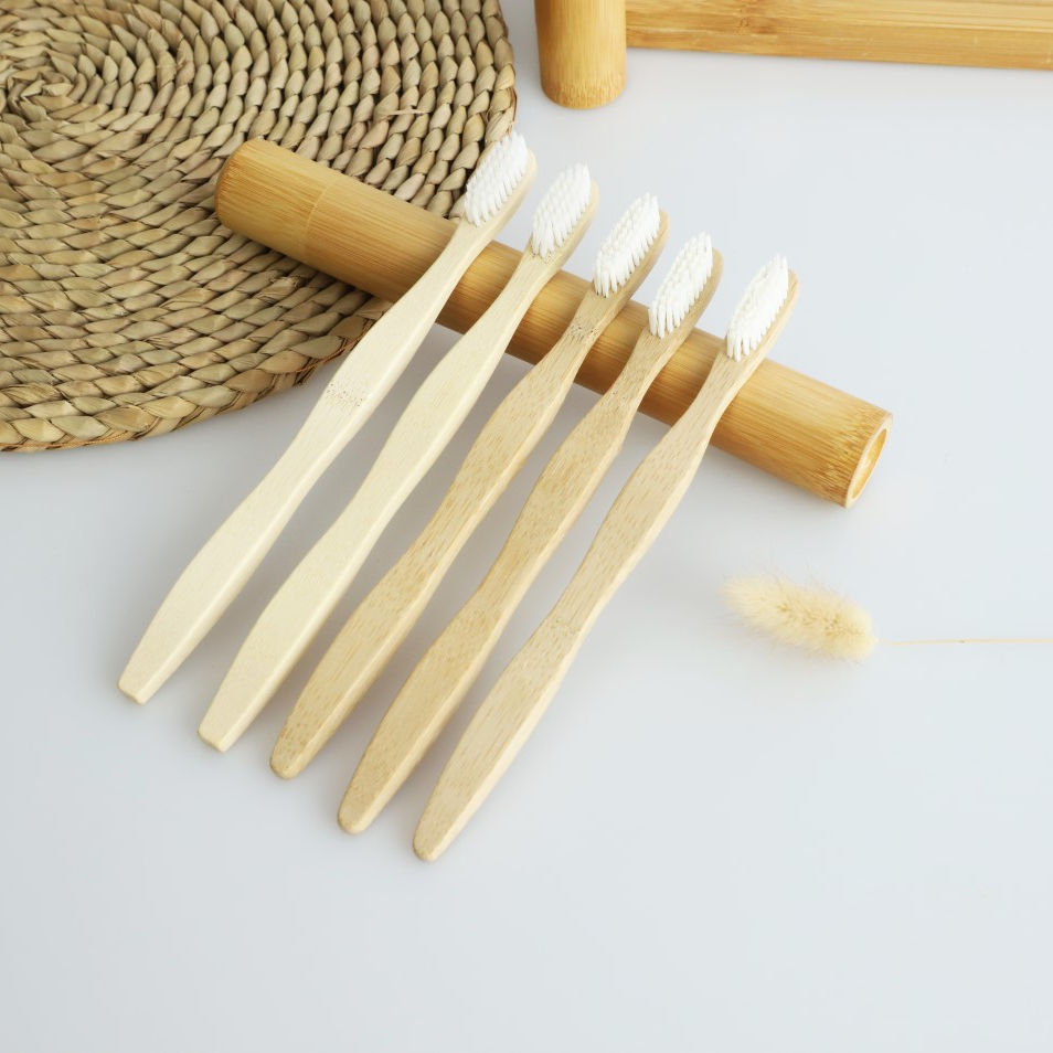 Manufacture wave handle cheap tooth brush disposable eco bamboo toothbrush family pack