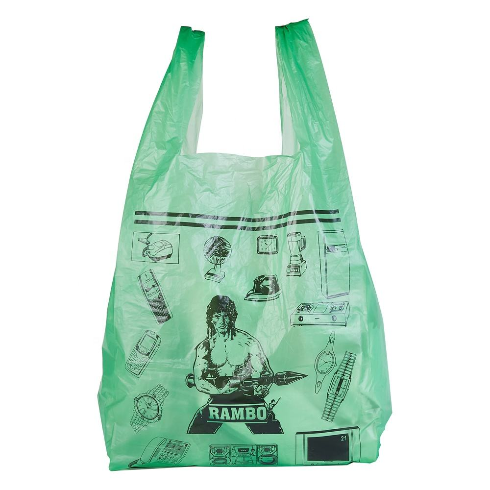 Hdpe [ Bag T-shirt ] Colored Green/red/blue/orange Degradable Packing Bag T-shirt Vest Bag