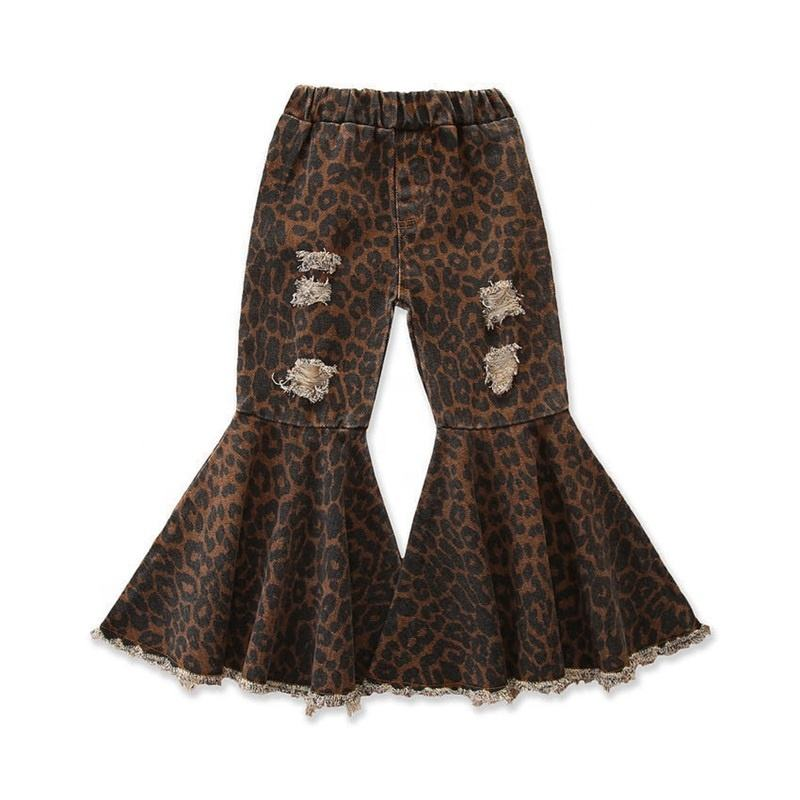 New Arrival Children Girls Leopard Pattern Jeans Flare Pants Kids Ripped Fringe Denim Bell Bottoms