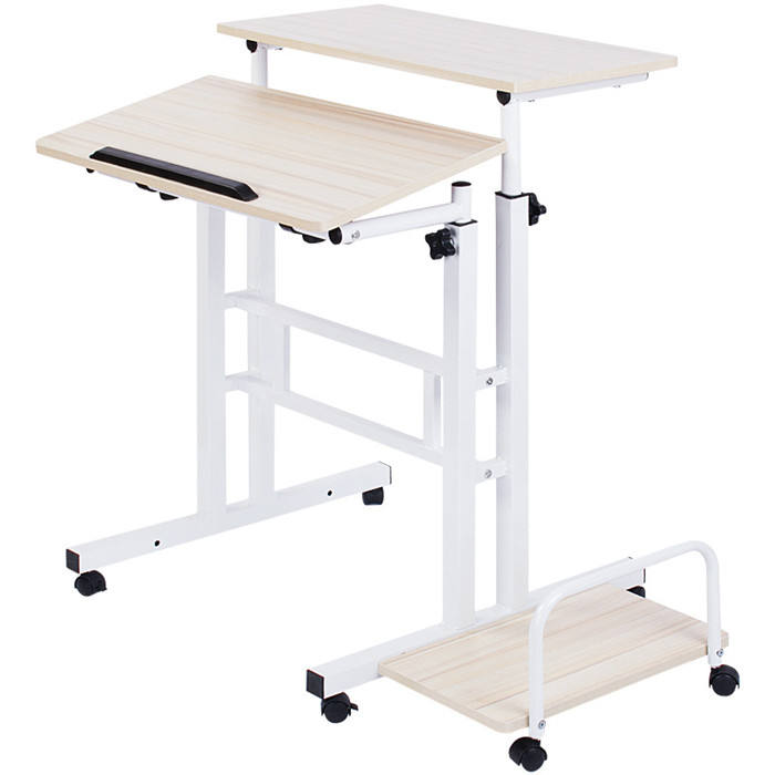 Home Office Standing Computer Desk Double Side Lifting Steel Computer Wooden Desk Table with Wheel