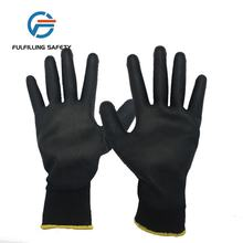 13 gauge polyester  black pu coat glove white work
