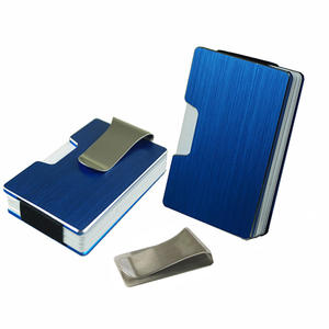Metal rfid blocking business card holder with money clip men aluminum credit card holder wallet