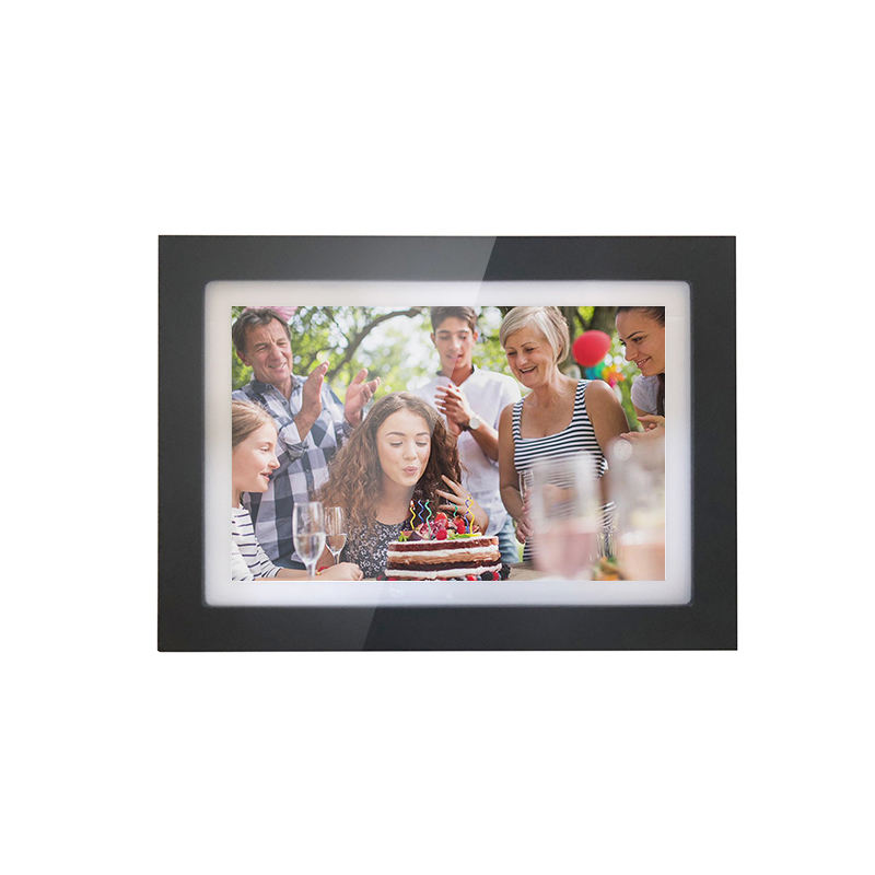 10 inch smart wooden wifi photo frames lcd touch screen monitor support upload and paly photo and videos with wifi