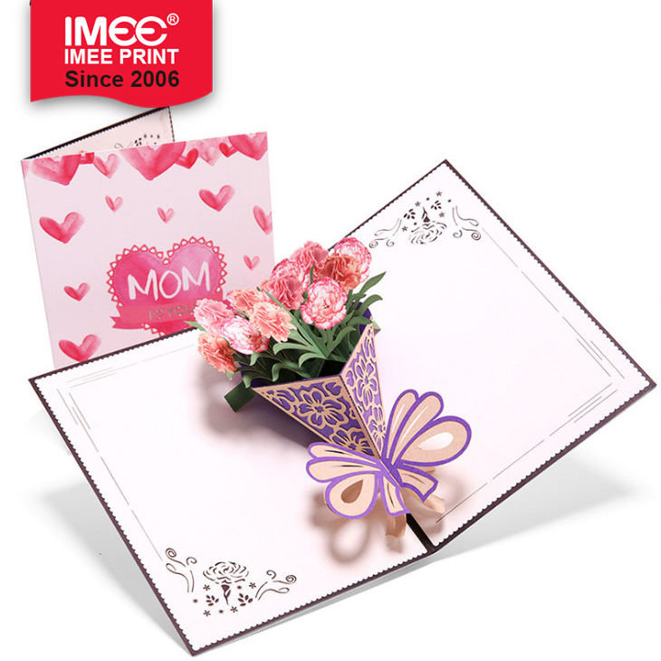 IMEE 3D Pop Up Carnation Flower MotherのDay Greeting Cards TeacherのDay Thanksgiving Day Greeting Card