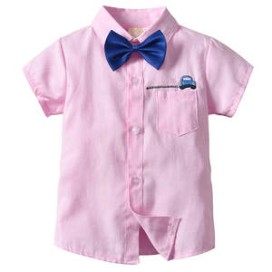 New summer kids clothes cotton and linen car embroidery solid color boy short sleeve shirts