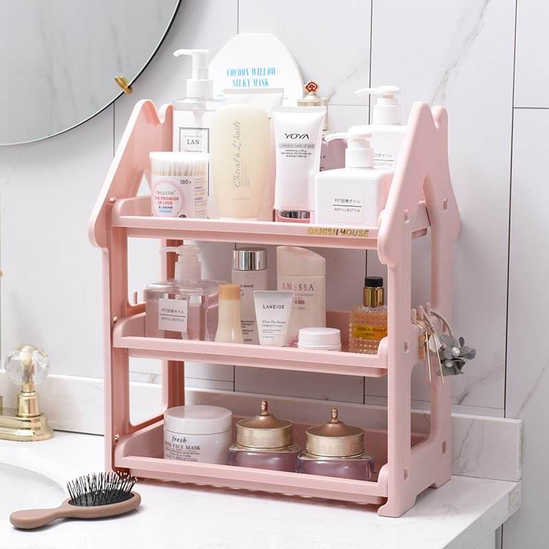 Bathroom wash gargle station cosmetic buy content storage shelf, cosmetic plastic storage shelf