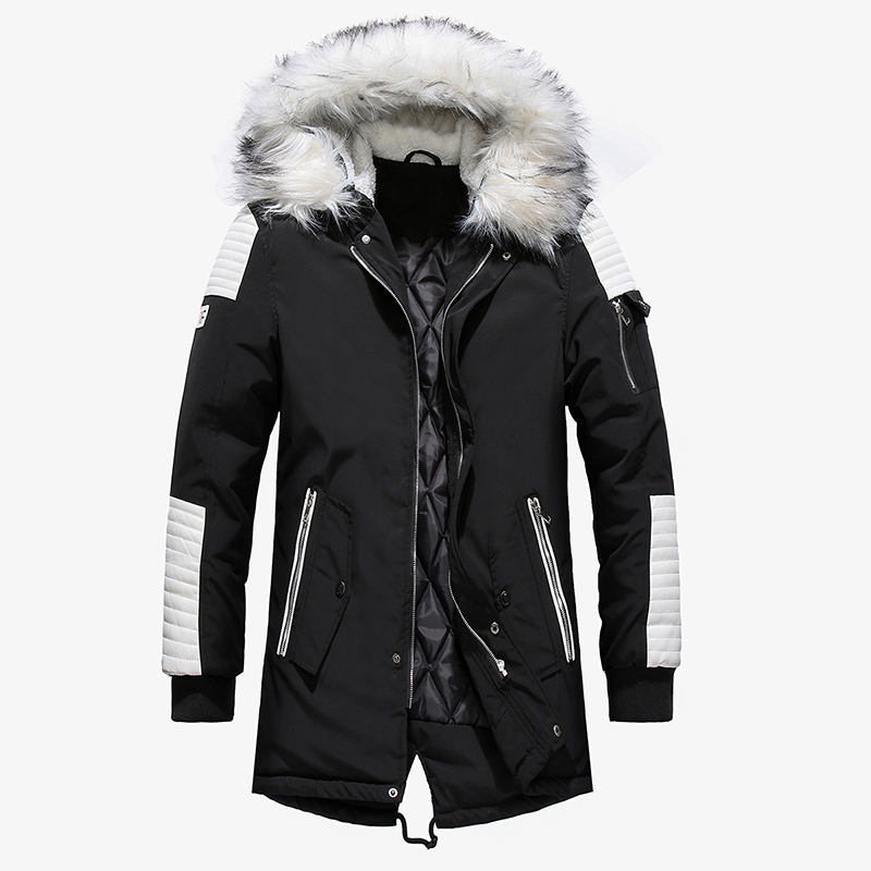 Dropshipping Wholesale Men Jackets Winter Cotton Padded Warm Coat Big Fur Hooded Outwear Mid-Long Parka Coats