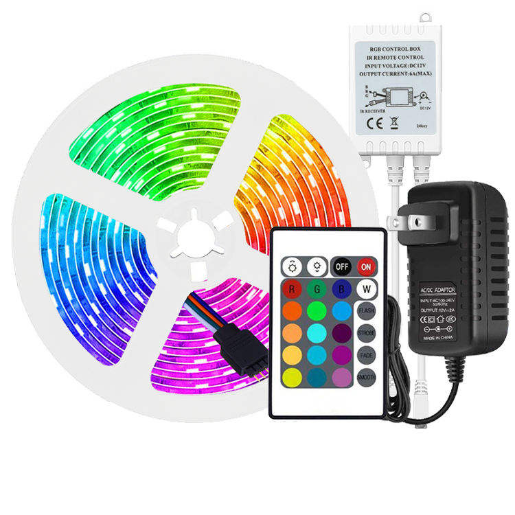 LED 5050 RGB 5m Strip 24Key IR Remote Controller Color Changing PI65 Waterproof Led Strip Lights Kit
