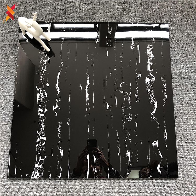 Best selling interior bright black marble design polished glazed ceramic flooring tile 600x600 for living room
