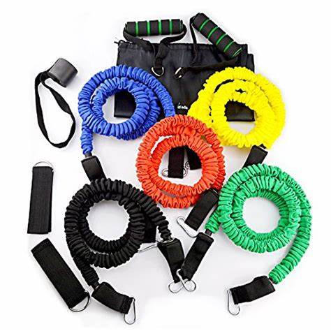 Factory Price Fitness Exercise Resistance Tube Bands 11pcs/Set Gym Equipment Set With Fabric Cover
