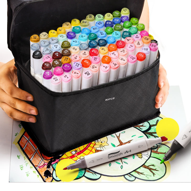 Art 80 Colors Dual Tip Alcohol Based Art Markers Permanent Marker Pens Highlighters Perfect for Illustration Adult Sketching