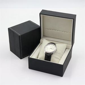 Elegant Rectangle Black Leather Custom Logo Gift Watch PU Box with Paper Sleeve and Box Pillow