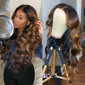 Hot Sale Lace Front Synthetic Hair Wigs Brazilian 13*6 Lace 1b/27 Pre-Plucked Ombre Human Hair Wigs With Baby Hair