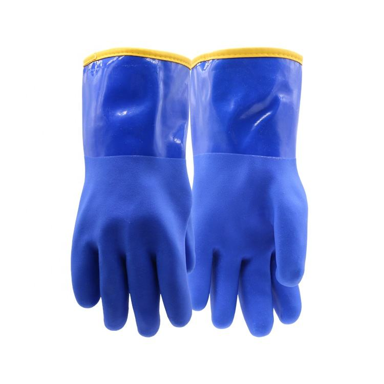 Outdoor Winter Warm Chemical Resistant Gauntlet PDOUG948 Insulated Waterproof PVC Gloves