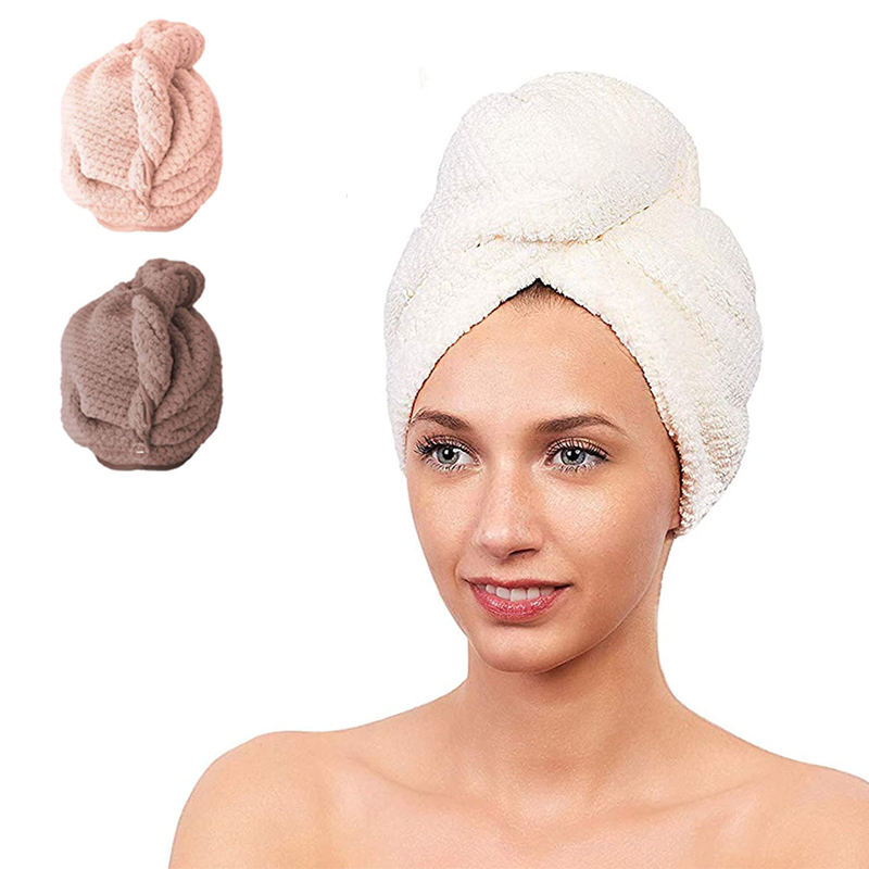 Wholesale Customized Factory Price High Quality Sustainable Hair Towel Quick Drying Soft Turban Waffle Microfiber Dry Hair Towel