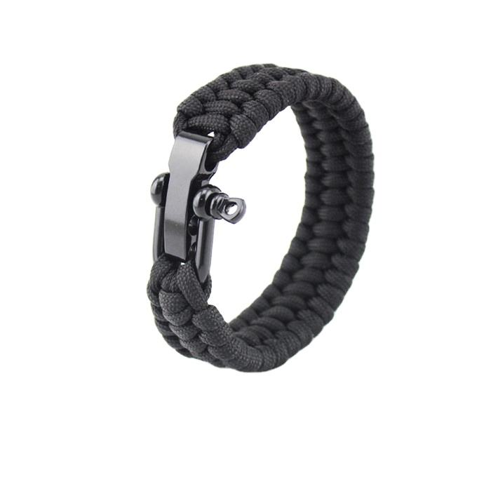 Verstelbare Maat 7-8 Inch Premium Zwarte <span class=keywords><strong>Paracord</strong></span> Survival Polsen Armband Met Rvs D-sluiting