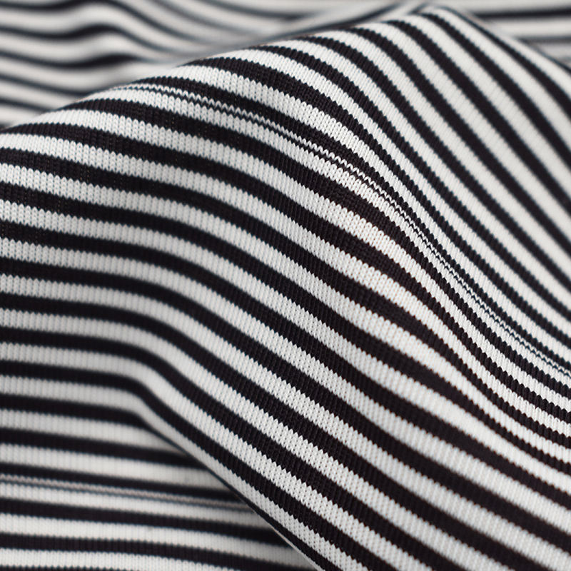 Single jersey stripe t shirt fabric 4-way stretch breathable recycled fabric