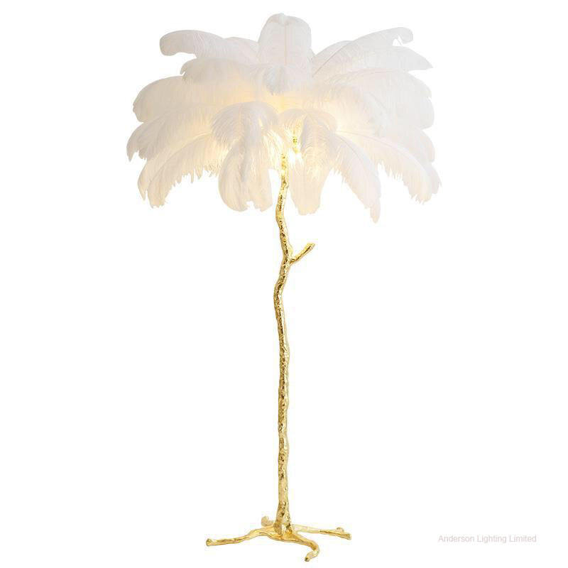 Anderson Hotel decoration designer modern palm tree stand copper ostrich feather floor lamp