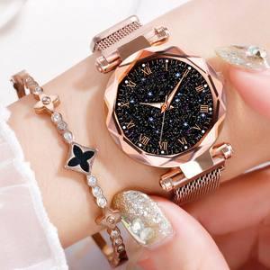 Luxury Mesh Ladies Clock Magnet Buckle Starry Diamond Geometric Surface Casual Dress Quartz Wristwatch Women Watches Rose Watch