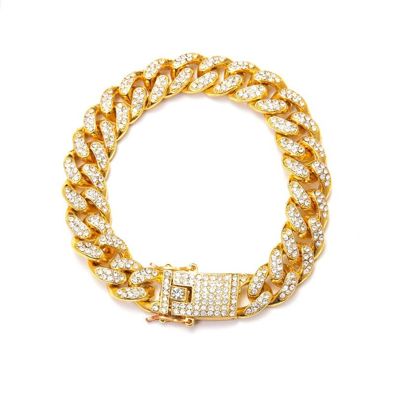 Fashion Best Selling CZ Full Rhinestone 12mm Cuban Hip-hop 18K Golden Link Chain Bracelet For Men