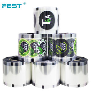 FEST Cold beverage bubble tea seal rolling film for 90mm 95 mm paper plastic cup , clear milk tea plastic cup sealing film roll