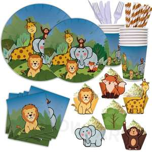 Wholesale Cute Animals Party Set Eco Friendly Tableware Stylish Disposable Jungle Birthday Party Supplies