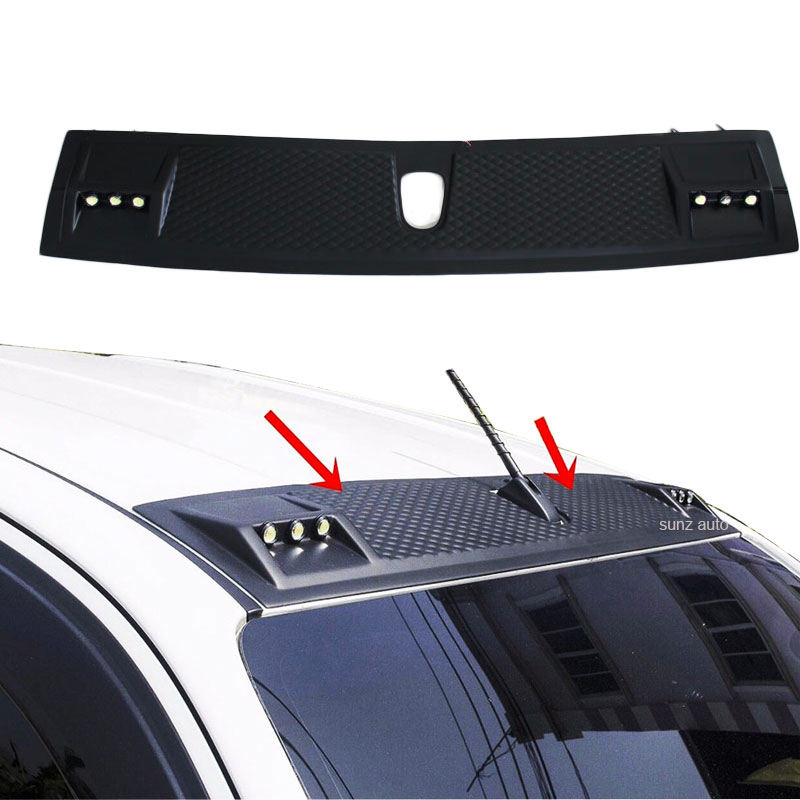 YCSUNZ Matte Black Front Roof Spoiler With DRL For Hilux Revo 2015 2016 Pickup Front Roof Cover Accessories