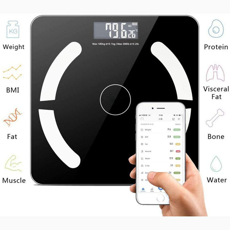 180KG BMI Personal Health Digital Weighing Human Electronic Fit Weight Plastic Smart Bathroom Bluetooth Analyzer Body Fat Scale