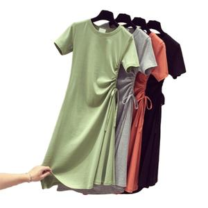Green dress women's summer dress slim waist drawstring medium length A-line skirt women