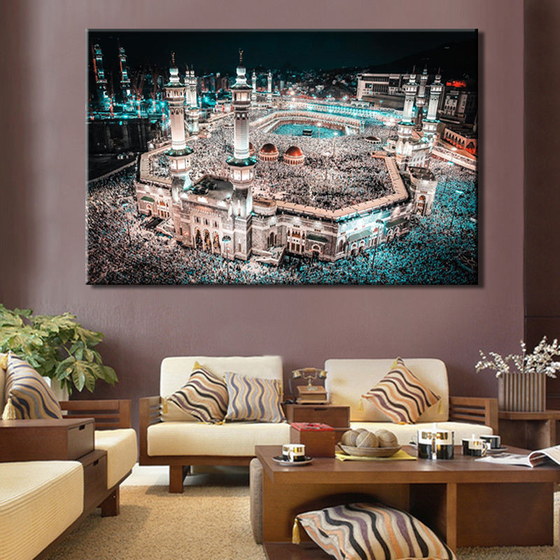 Custom Posters Prints Mecca Islamic Landscape canvas wall decorations pictures islamic oil paintings