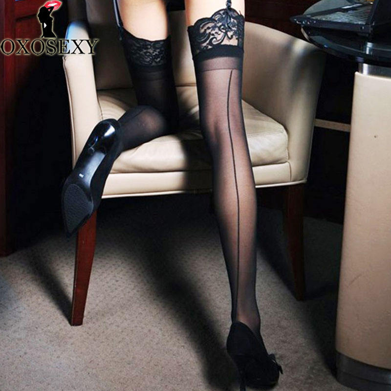 370 new black Lace nylon fantasy Back Seam Women Stocking cuban heel Female Thigh High Long Stay Up Stockings