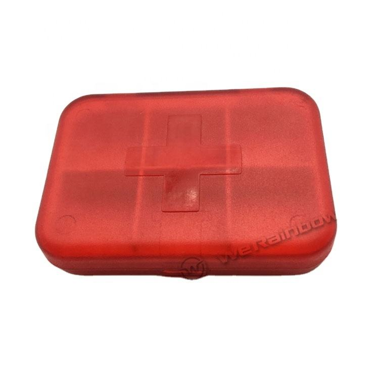 plastic 6 compartment pill box with transparent color