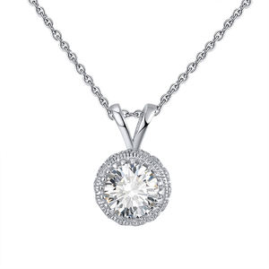 RINNTIN SN215 CZ diamond necklace jewelry wholesale for women 14K 18K gold plated 925 silver pendent necklace