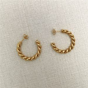 Fashion women 30mm hoop stud stainless steel strand earring twist gold plated earrings