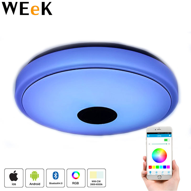 36W LED Ceiling Lights with Sounds Bluetooth Speaker Music Ceiling Lights Dimmable RGB Changing APP+Remote Control 40*40*10cm