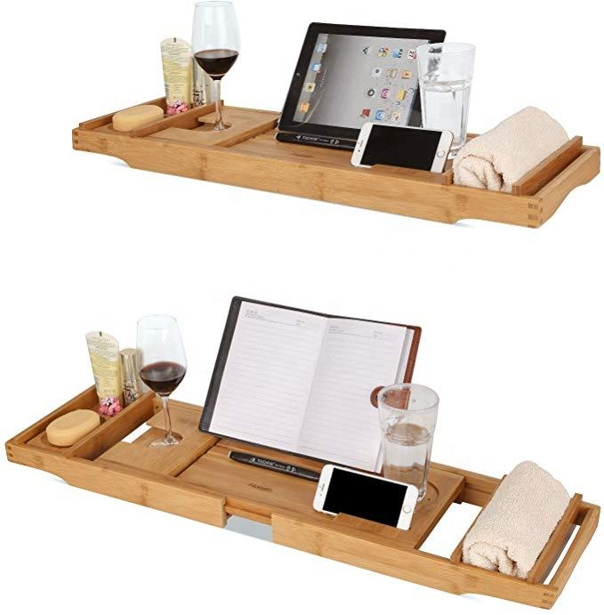 OEM direct factory extendable flexible multifunctional wooden bamboo buthtub tray