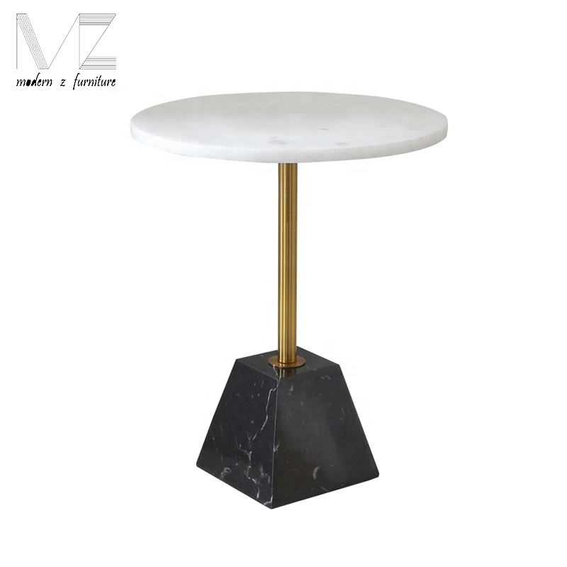 Modern nordic design gold rod round marble stone metal side table