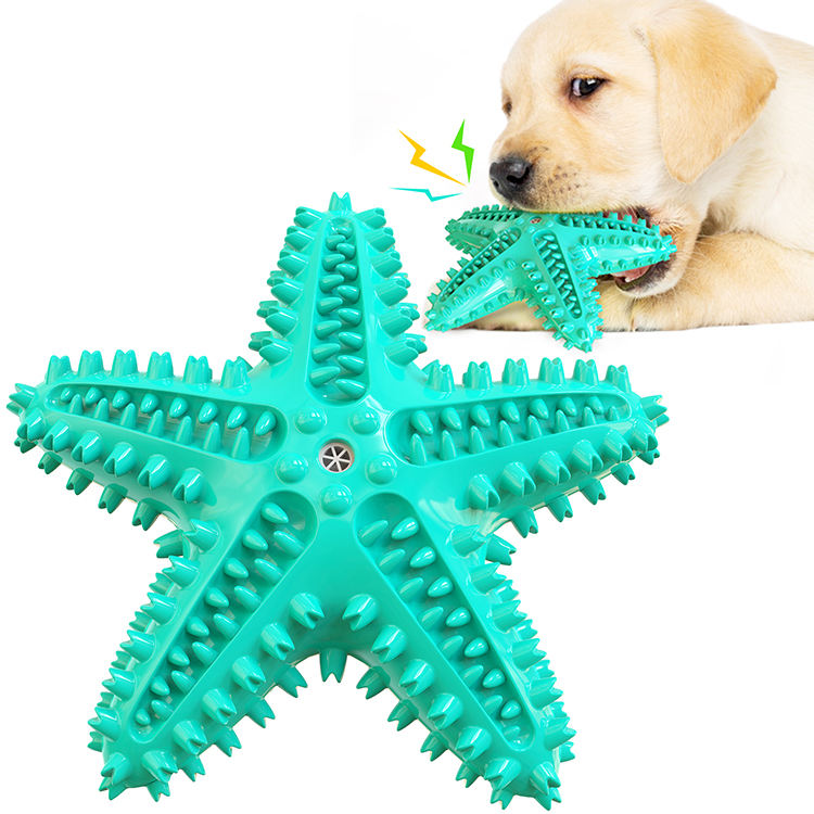 Gomma naturale che è eco-friendly pet molare spazzolino da denti stelle marine sound squeaky chew toy
